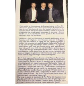 Articolo sulla famiglia Vender, oggi alla guida della Macallesi, ricordata dai tifosi della Pro Patria