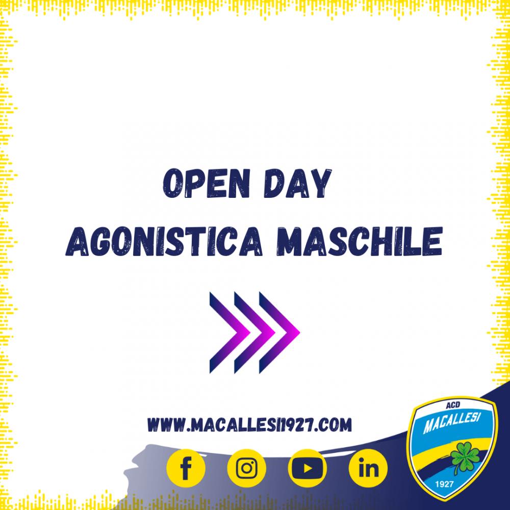 Date Open Day agonistica maschile stagione 2021/2022