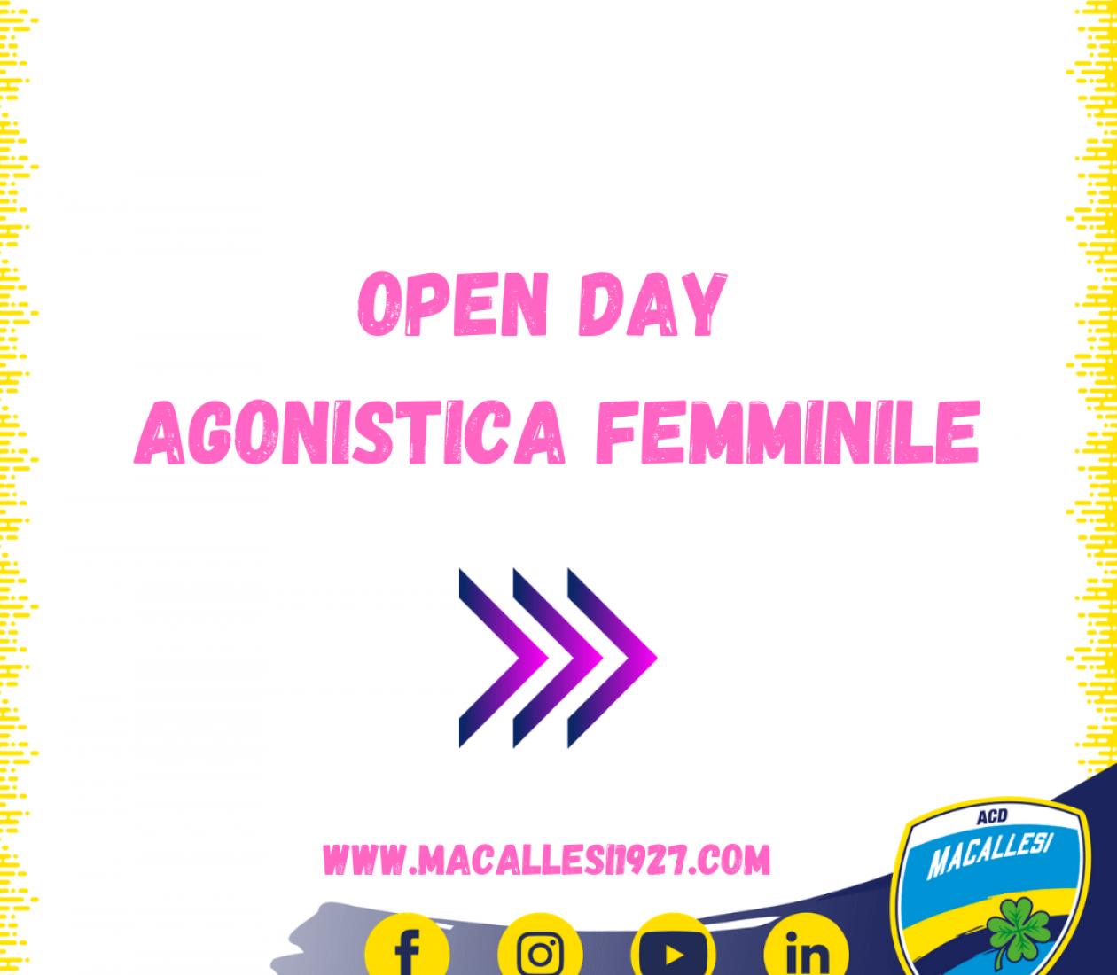 Date Open Day agonistica femminile stagione 2021/2022