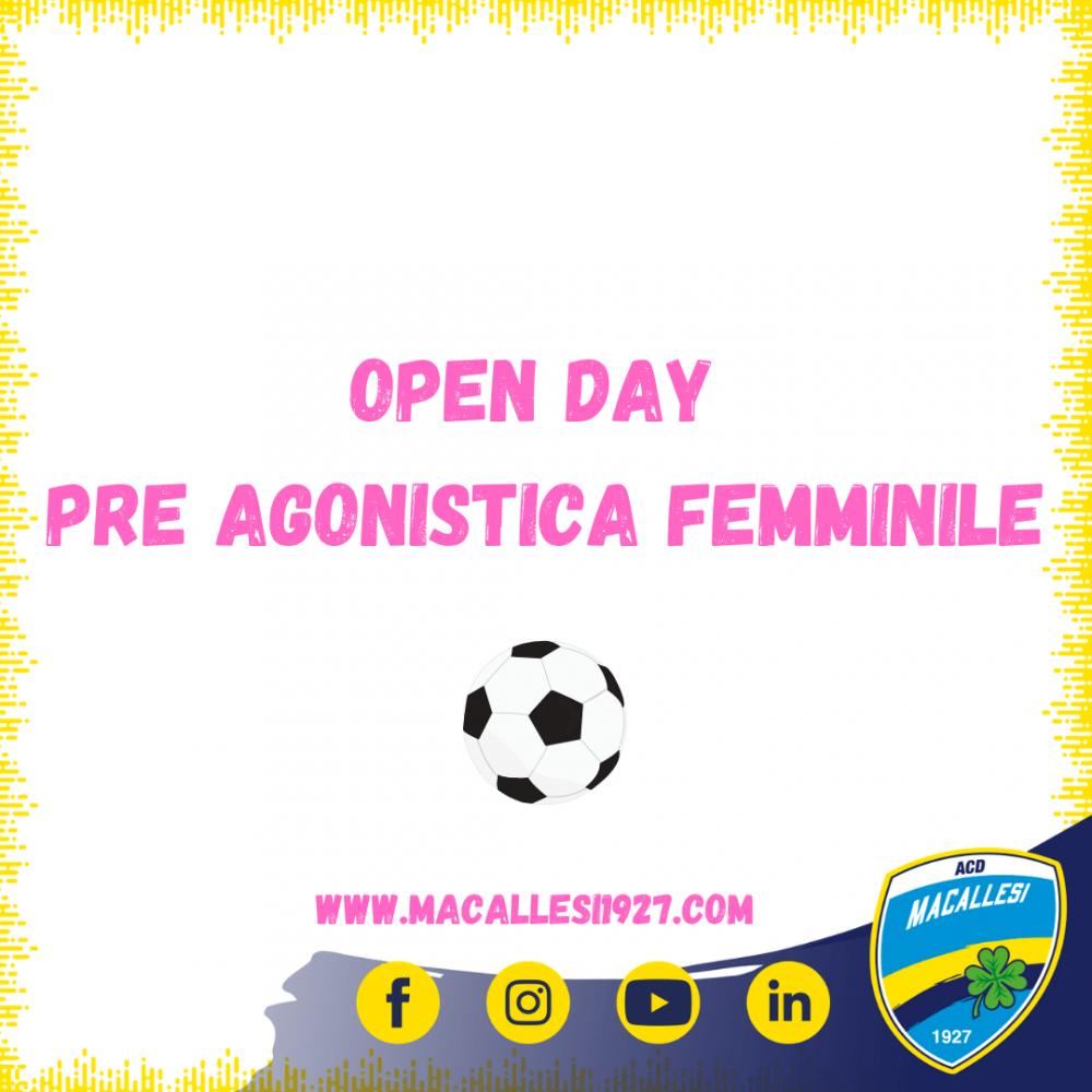 Date Open Day scuola calcio Pre Agonistica femminile Stagione 2021/22