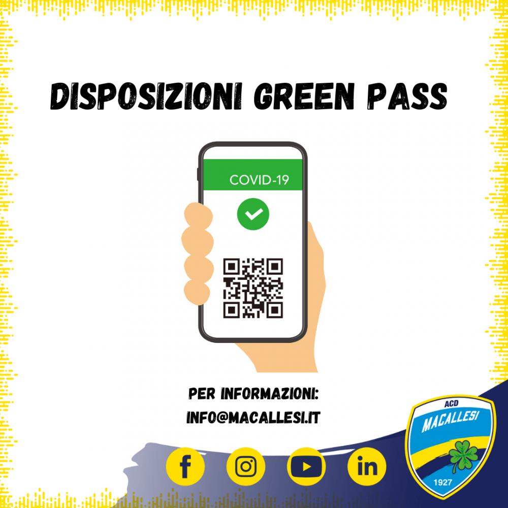Disposizioni utilizzo di Green Pass