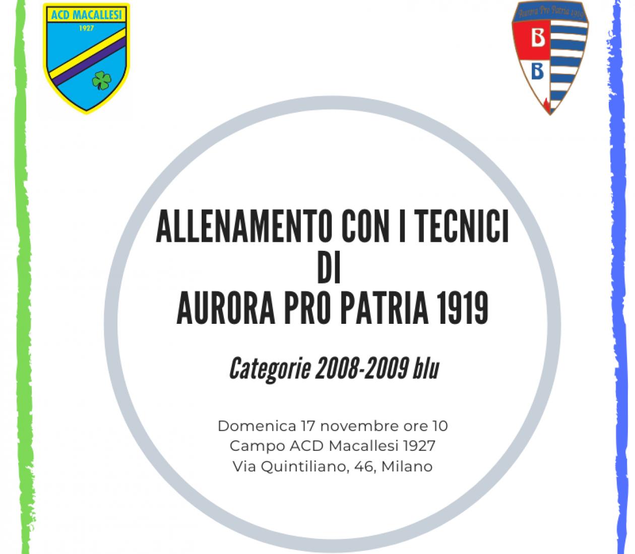Allenamento con i tecnici Pro Patria 1919
