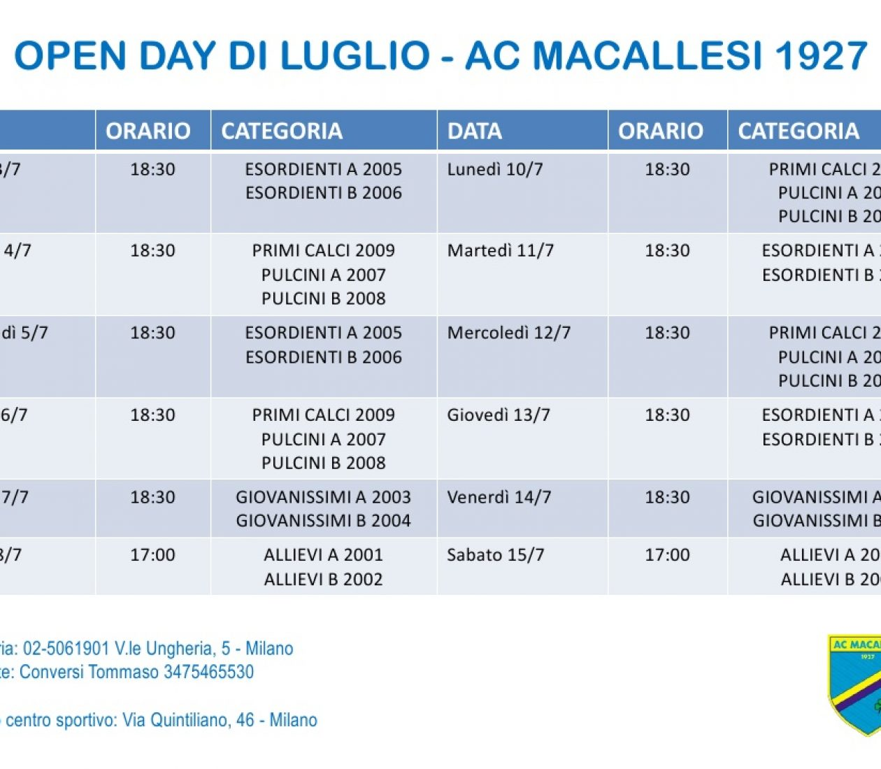 Open Day all'AC Macallesi!