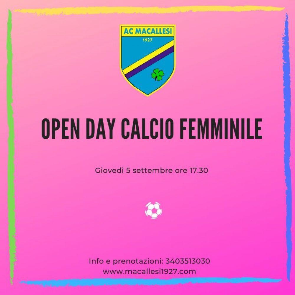 Open Day calcio femminile!