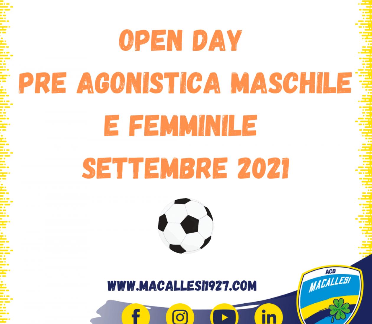 Open day Pre Agonistica Calcio maschile e femminile – settembre 2021