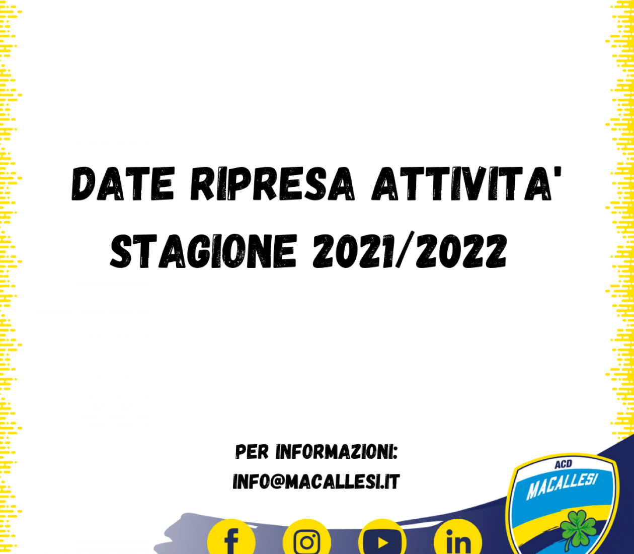 Date ripresa attività Stagione 2021/2022