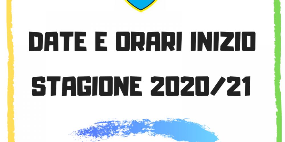 Tutte le date di inizio stagione 2020/21