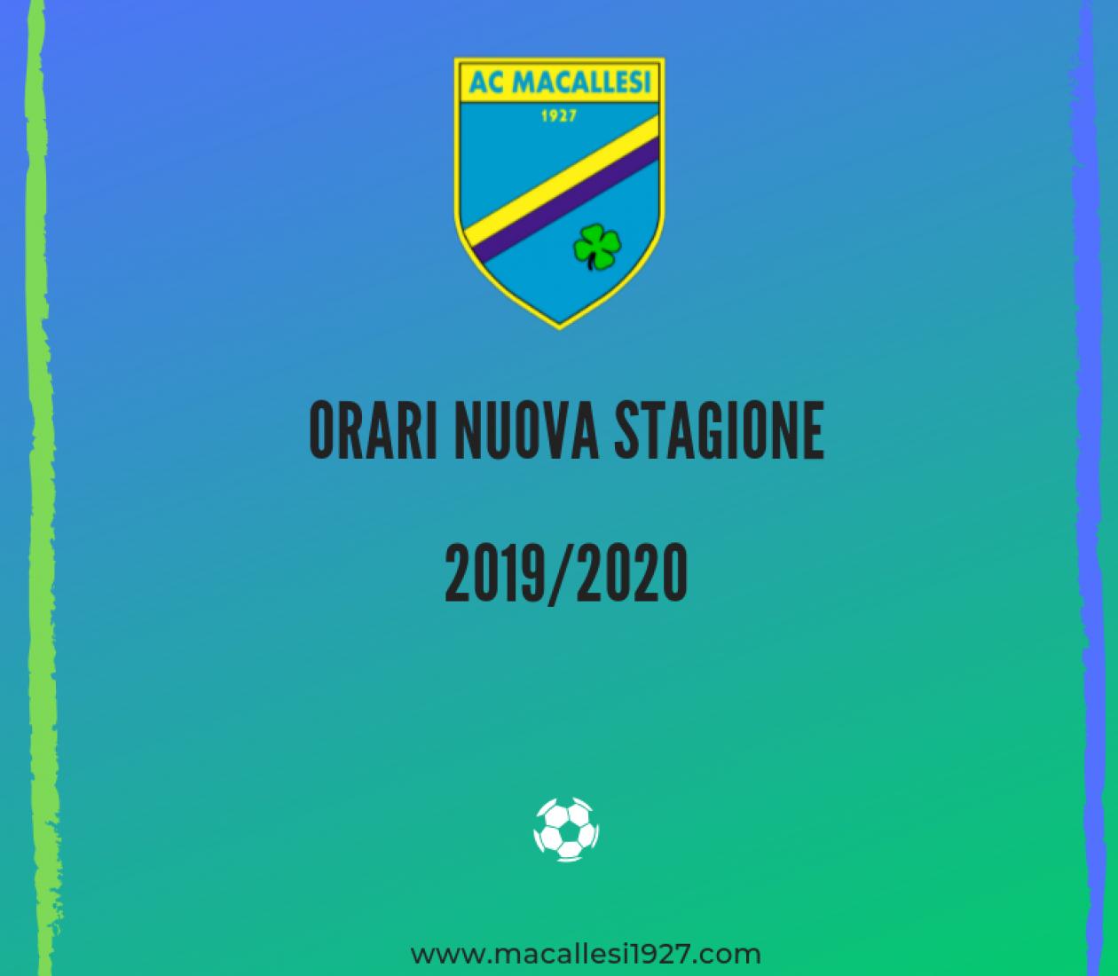 Ripresa stagione e orari allenamenti 2019/2020